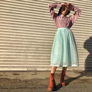 Dresses & Skirts - 1950s Mint Polka Dot Skirt